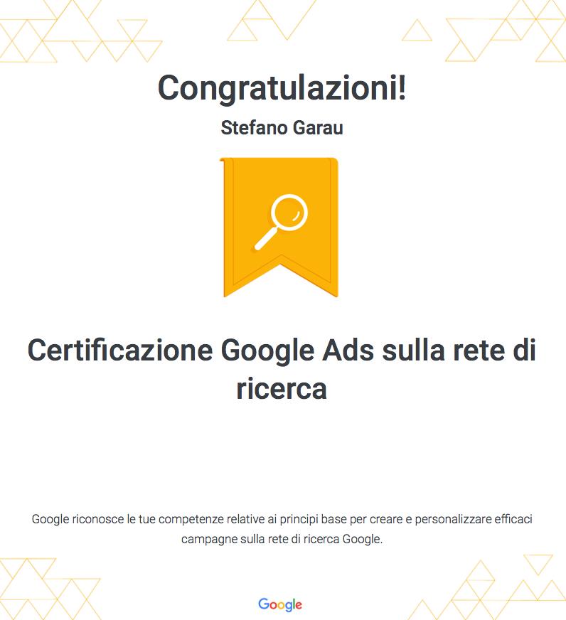 Certificazione-Garau-Stefano-webAL Ads sulla rete di ricerca