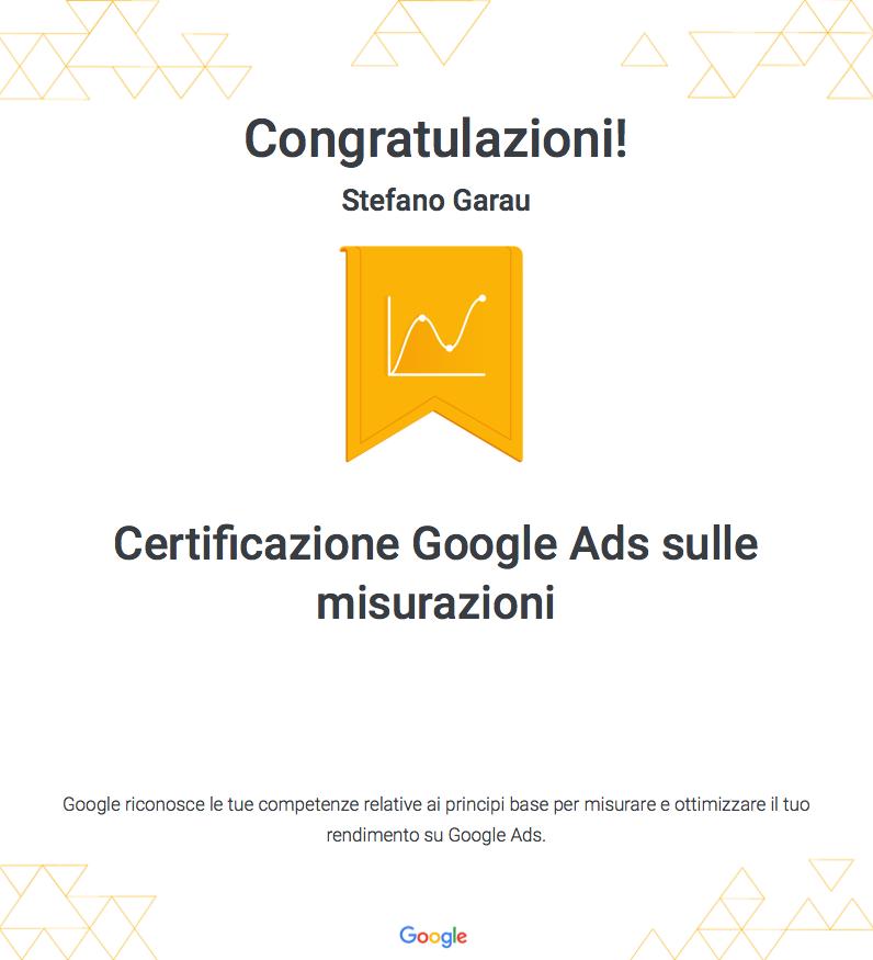 Certificazione-Garau-Stefano-webAL Ads sulla rete di ricerca Ads sulle misurazioni